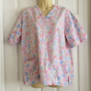 Multi Color Flowers Scrub Top Small